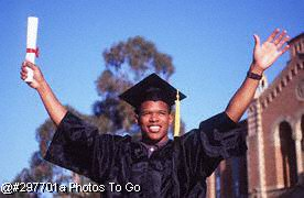 Young man celebrating college graduation